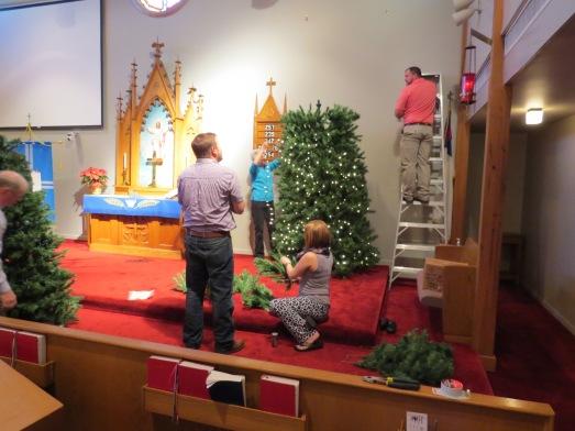 Christmas Tree 2014 set up lights on tree