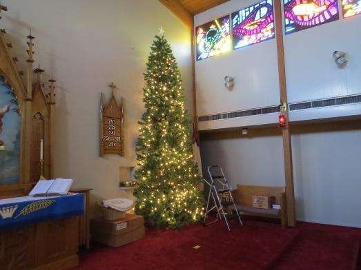 Christmas Tree 2014 set up lights turned on