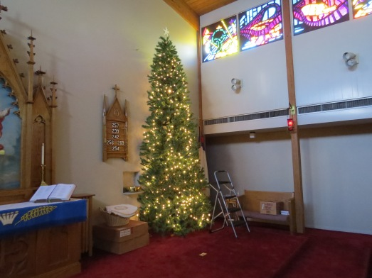 Christmas Tree 2014 set up lights turned on