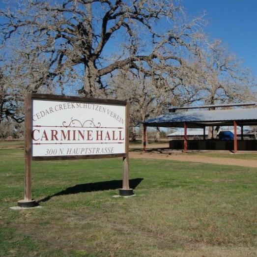 Carmine Hall Sign