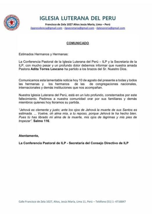 Peru Bishop Letter Death